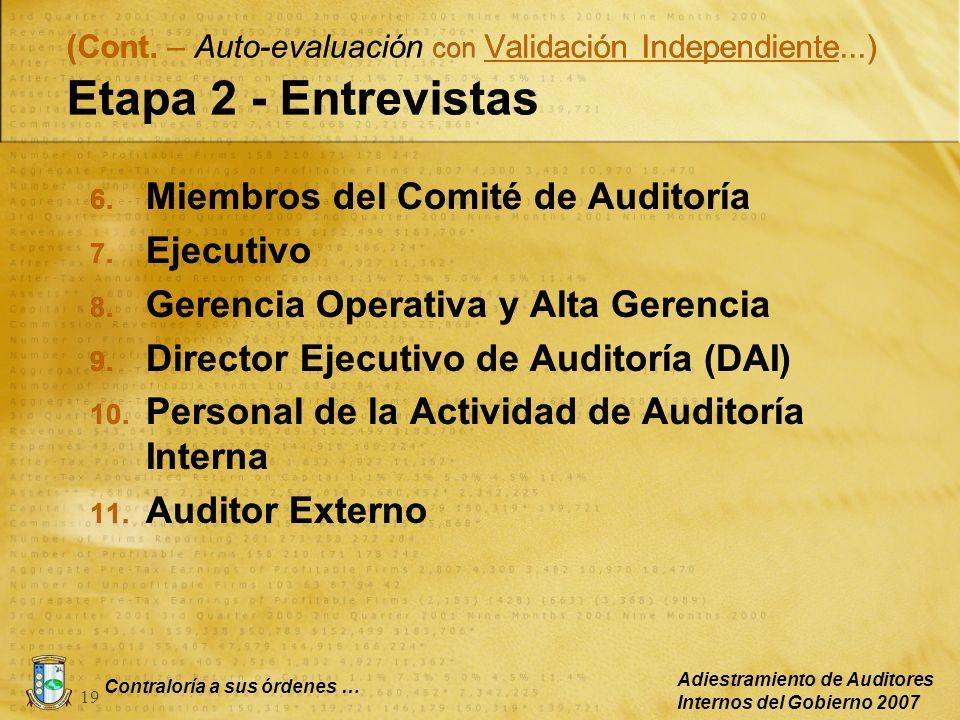 Contraloría a sus órdenes … Adiestramiento de Auditores Internos del Gobierno 2007 19 (Cont. – Auto-evaluación con Validación Independiente...) Etapa
