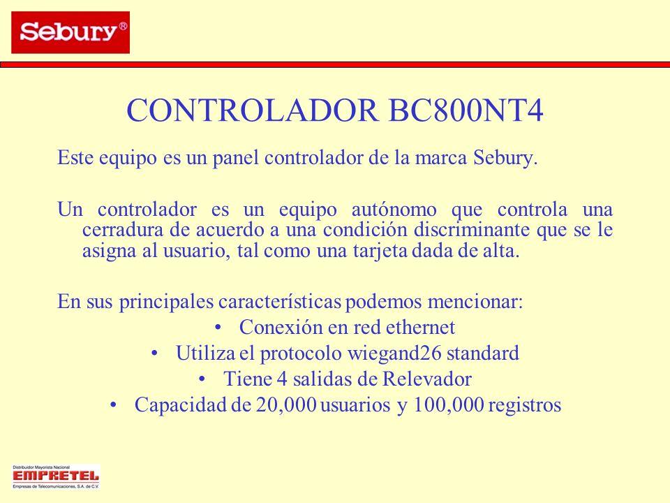 CONTROLADOR BC800NT4 Este equipo es un panel controlador de la marca Sebury. Un controlador es un equipo autónomo que controla una cerradura de acuerd