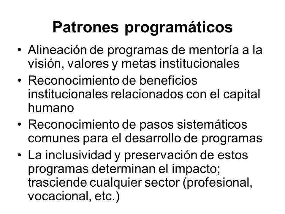 Patrones programáticos Alineación de programas de mentoría a la visión, valores y metas institucionales Reconocimiento de beneficios institucionales r