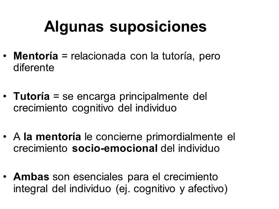 Algunas suposiciones Mentoría = relacionada con la tutoría, pero diferente Tutoría = se encarga principalmente del crecimiento cognitivo del individuo