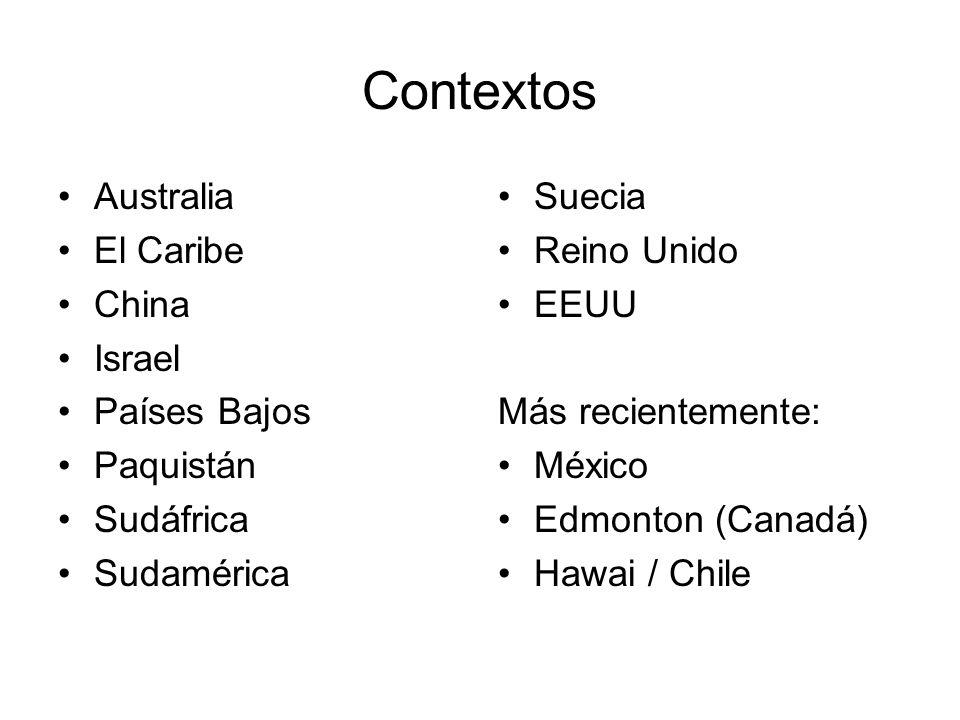 Contextos Australia El Caribe China Israel Países Bajos Paquistán Sudáfrica Sudamérica Suecia Reino Unido EEUU Más recientemente: México Edmonton (Can