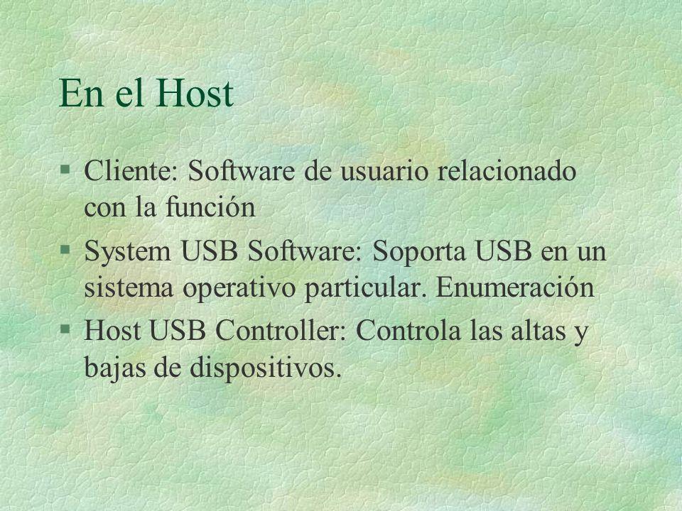 En el Host §Cliente: Software de usuario relacionado con la función §System USB Software: Soporta USB en un sistema operativo particular.