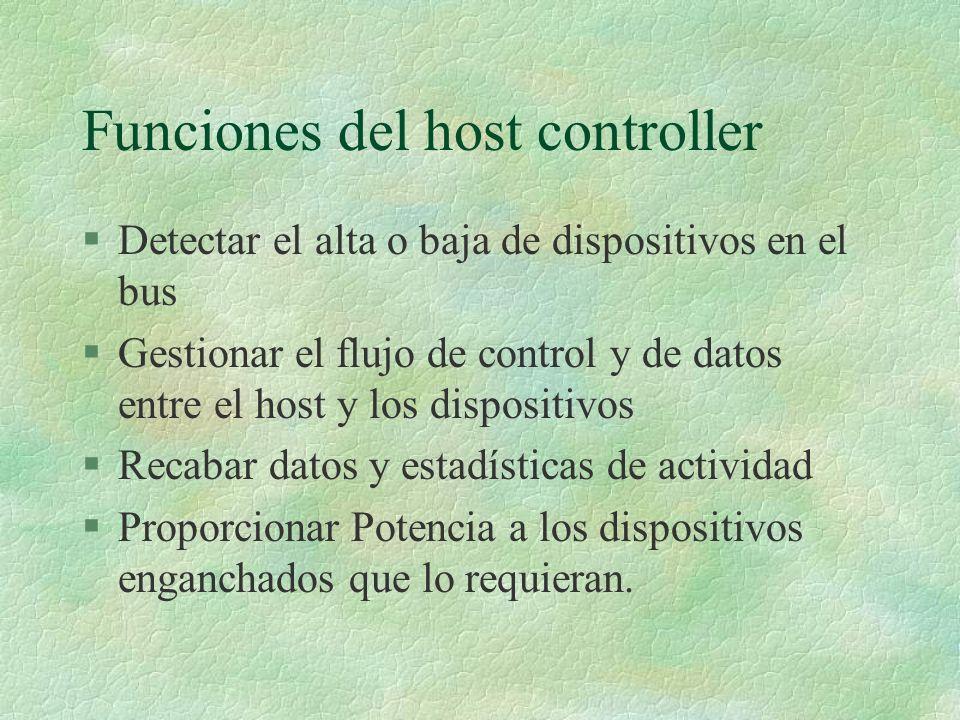 Funciones del host controller §Detectar el alta o baja de dispositivos en el bus §Gestionar el flujo de control y de datos entre el host y los dispositivos §Recabar datos y estadísticas de actividad §Proporcionar Potencia a los dispositivos enganchados que lo requieran.