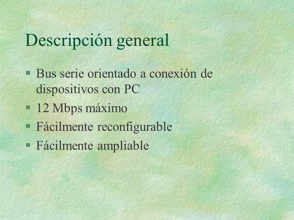 Descripción general §Bus serie orientado a conexión de dispositivos con PC §12 Mbps máximo §Fácilmente reconfigurable §Fácilmente ampliable