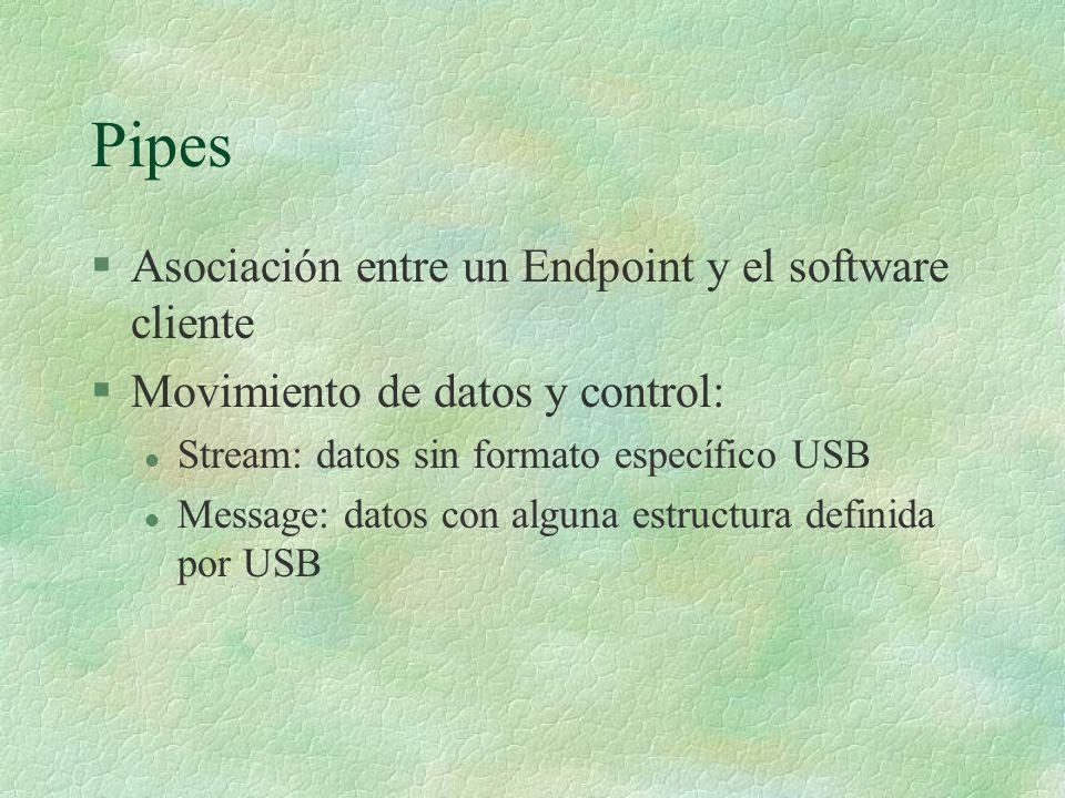 Pipes §Asociación entre un Endpoint y el software cliente §Movimiento de datos y control: l Stream: datos sin formato específico USB l Message: datos con alguna estructura definida por USB