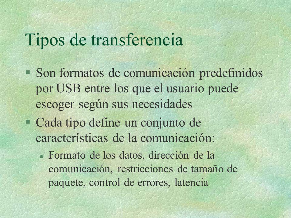 Tipos de transferencia §Son formatos de comunicación predefinidos por USB entre los que el usuario puede escoger según sus necesidades §Cada tipo define un conjunto de características de la comunicación: l Formato de los datos, dirección de la comunicación, restricciones de tamaño de paquete, control de errores, latencia