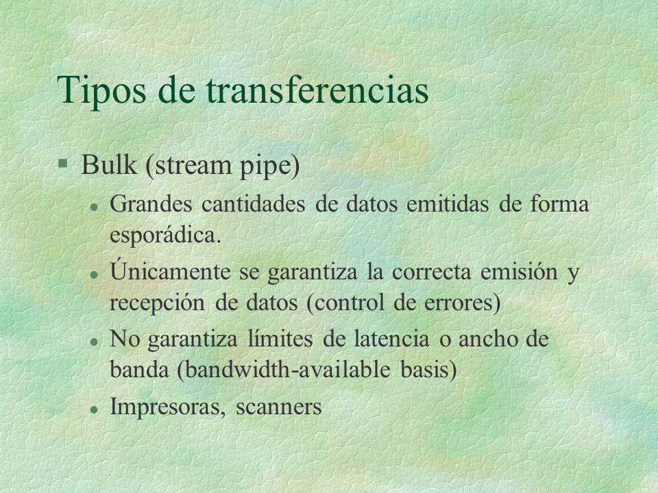 Tipos de transferencias §Bulk (stream pipe) l Grandes cantidades de datos emitidas de forma esporádica.