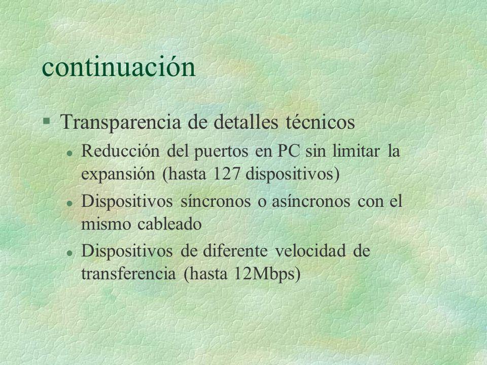 continuación §Transparencia de detalles técnicos l Reducción del puertos en PC sin limitar la expansión (hasta 127 dispositivos) l Dispositivos síncronos o asíncronos con el mismo cableado l Dispositivos de diferente velocidad de transferencia (hasta 12Mbps)