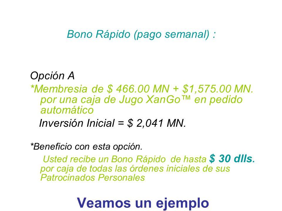 Opción A *Membresia de $ 466.00 MN + $1,575.00 MN. por una caja de Jugo XanGo en pedido automático Inversión Inicial = $ 2,041 MN. *Beneficio con esta