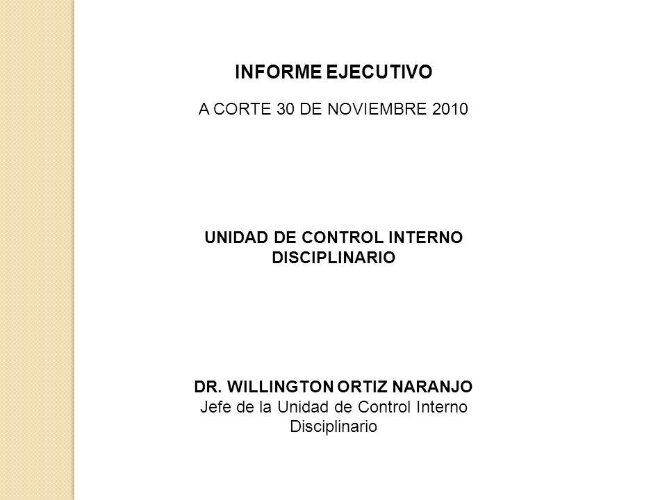 INFORME EJECUTIVO A CORTE 30 DE NOVIEMBRE 2010 UNIDAD DE CONTROL INTERNO DISCIPLINARIO DR.