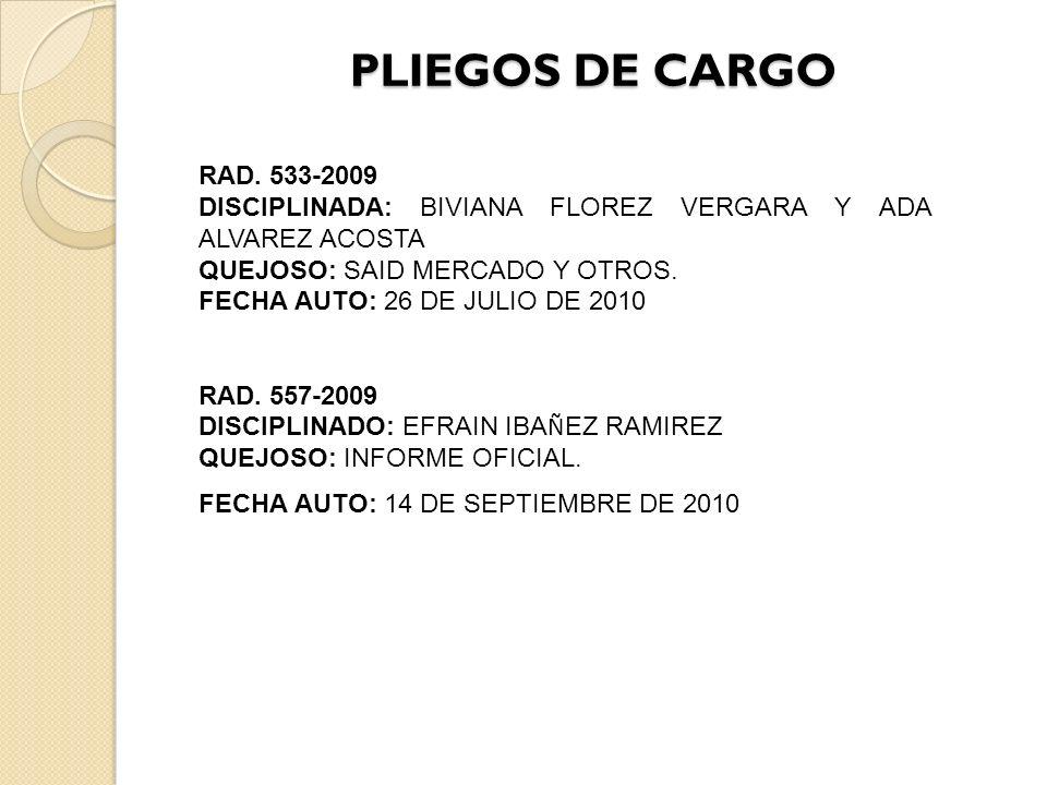 PLIEGOS DE CARGO RAD.