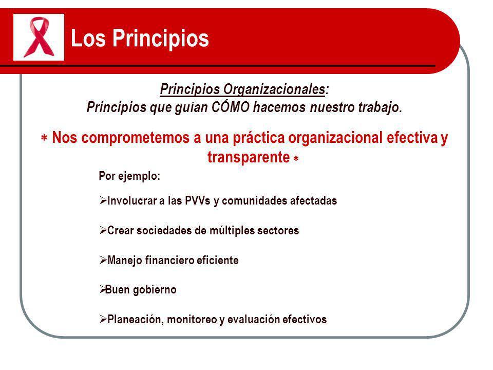 Los Principios Principios Organizacionales: Principios que guían CÓMO hacemos nuestro trabajo. Nos comprometemos a una práctica organizacional efectiv