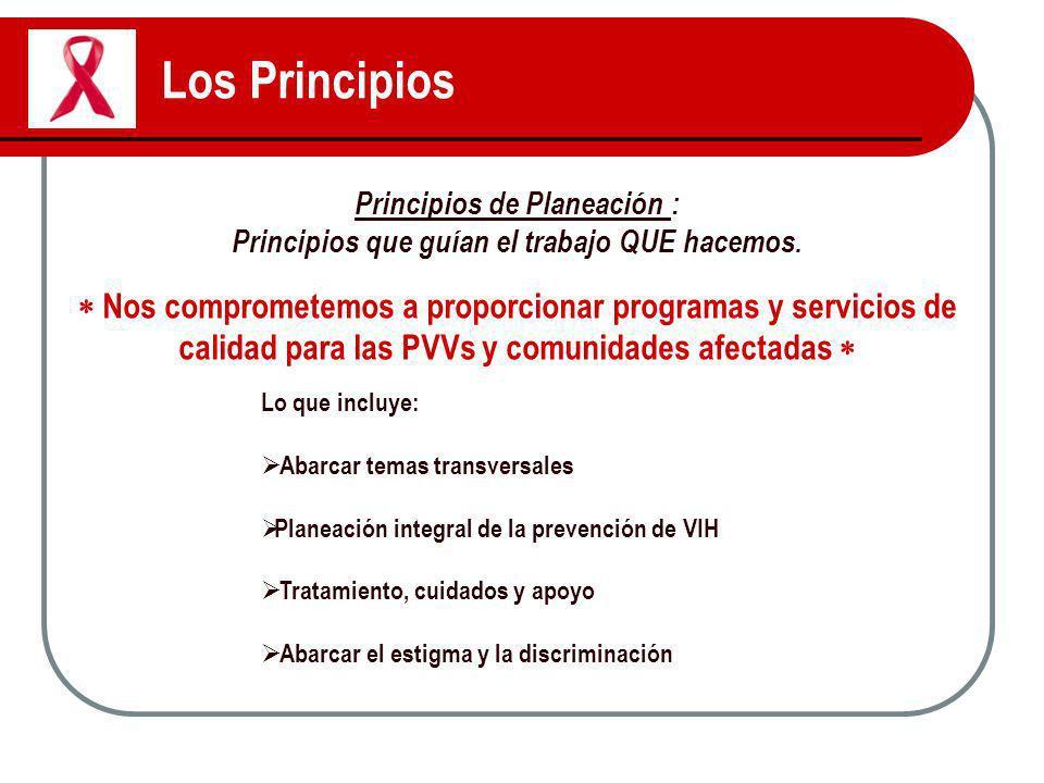 Los Principios Principios de Planeación : Principios que guían el trabajo QUE hacemos. Nos comprometemos a proporcionar programas y servicios de calid