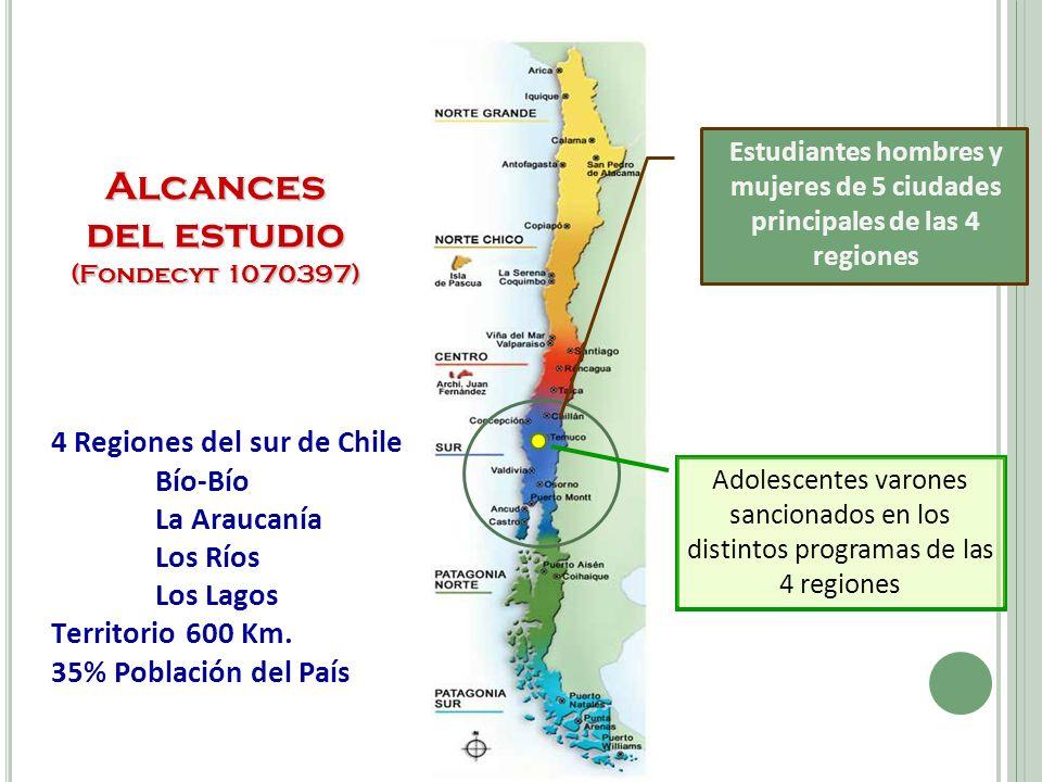 4 Regiones del sur de Chile Bío-Bío La Araucanía Los Ríos Los Lagos Territorio 600 Km.