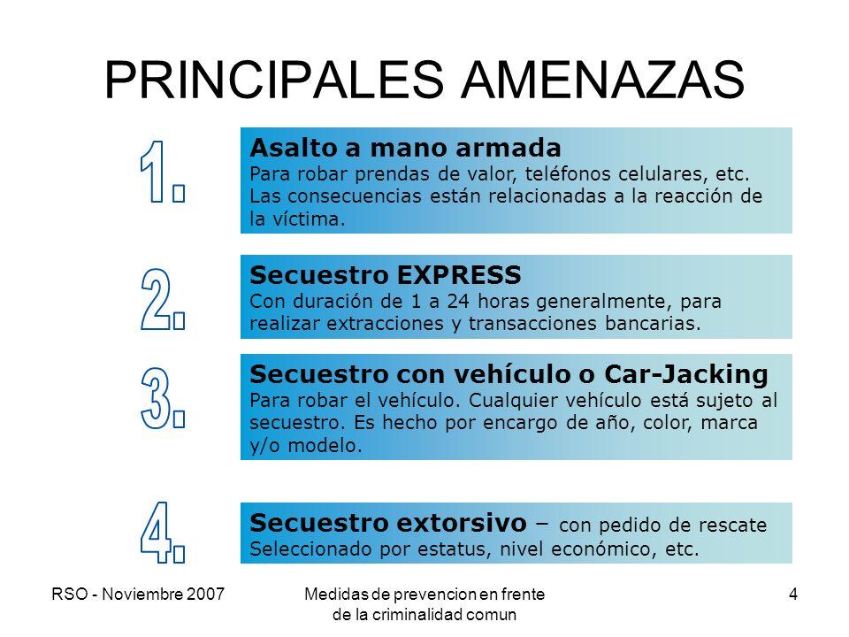 RSO - Noviembre 2007Medidas de prevencion en frente de la criminalidad comun 4 PRINCIPALES AMENAZAS Secuestro extorsivo – con pedido de rescate Selecc