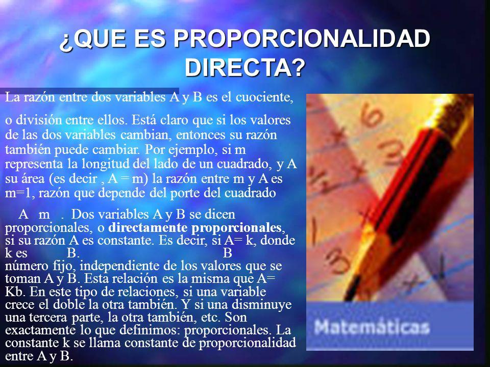 ¿QUE ES PROPORCIONALIDAD DIRECTA? La razón entre dos variables A y B es el cuociente, o división entre ellos. Está claro que si los valores de las dos