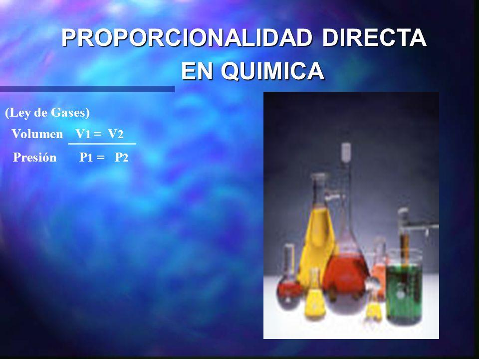 PROPORCIONALIDAD DIRECTA EN QUIMICA EN QUIMICA (Ley de Gases) Volumen V 1 = V 2 Presión P 1 = P 2 La ecuación muestra que el valor de cada cuociente e
