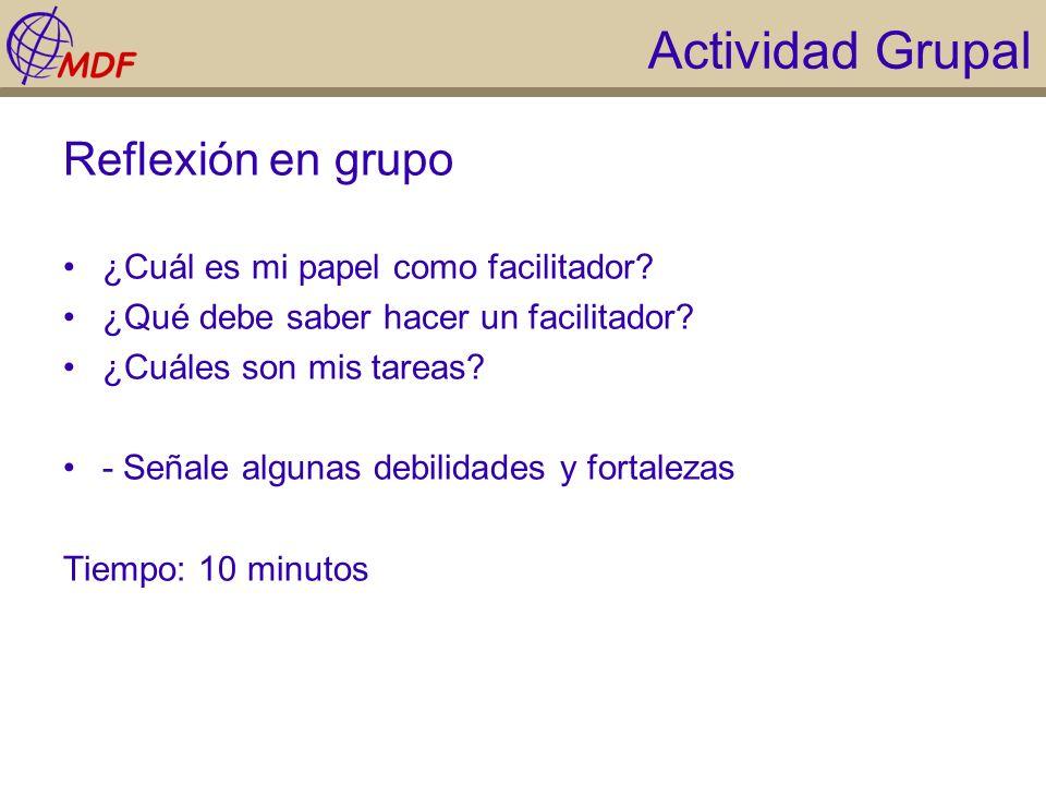 Actividad Grupal Reflexión en grupo ¿Cuál es mi papel como facilitador? ¿Qué debe saber hacer un facilitador? ¿Cuáles son mis tareas? - Señale algunas