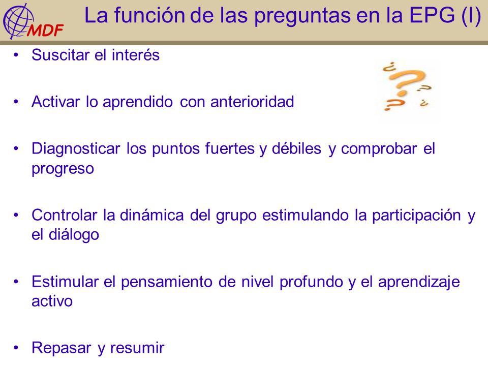 La función de las preguntas en la EPG (I) Suscitar el interés Activar lo aprendido con anterioridad Diagnosticar los puntos fuertes y débiles y compro