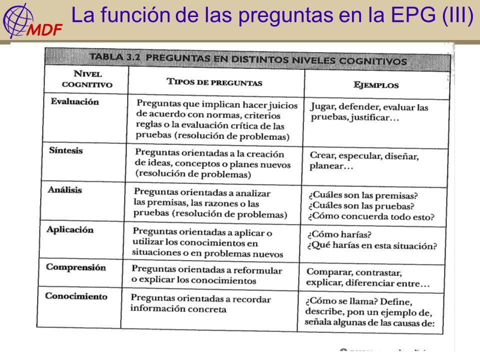La función de las preguntas en la EPG (III)