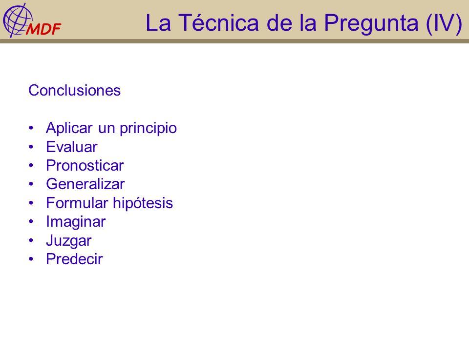 La Técnica de la Pregunta (IV) Conclusiones Aplicar un principio Evaluar Pronosticar Generalizar Formular hipótesis Imaginar Juzgar Predecir