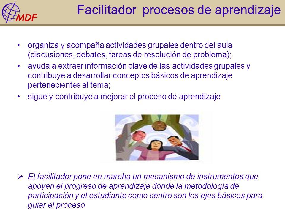 Facilitador procesos de aprendizaje organiza y acompaña actividades grupales dentro del aula (discusiones, debates, tareas de resolución de problema);