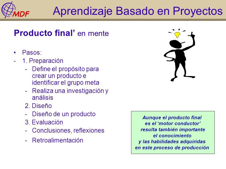 Aprendizaje Basado en Proyectos Producto final en mente Pasos: -1. Preparación -Define el propósito para crear un producto e identificar el grupo meta