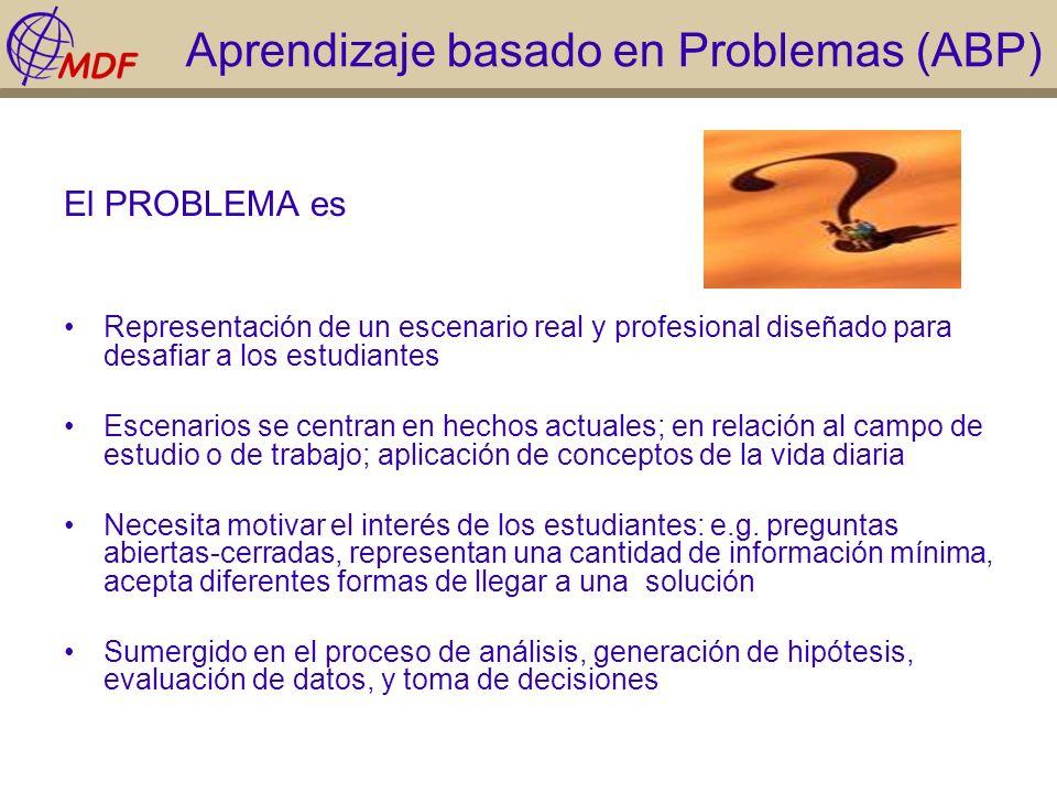 Aprendizaje basado en Problemas (ABP) El PROBLEMA es Representación de un escenario real y profesional diseñado para desafiar a los estudiantes Escena