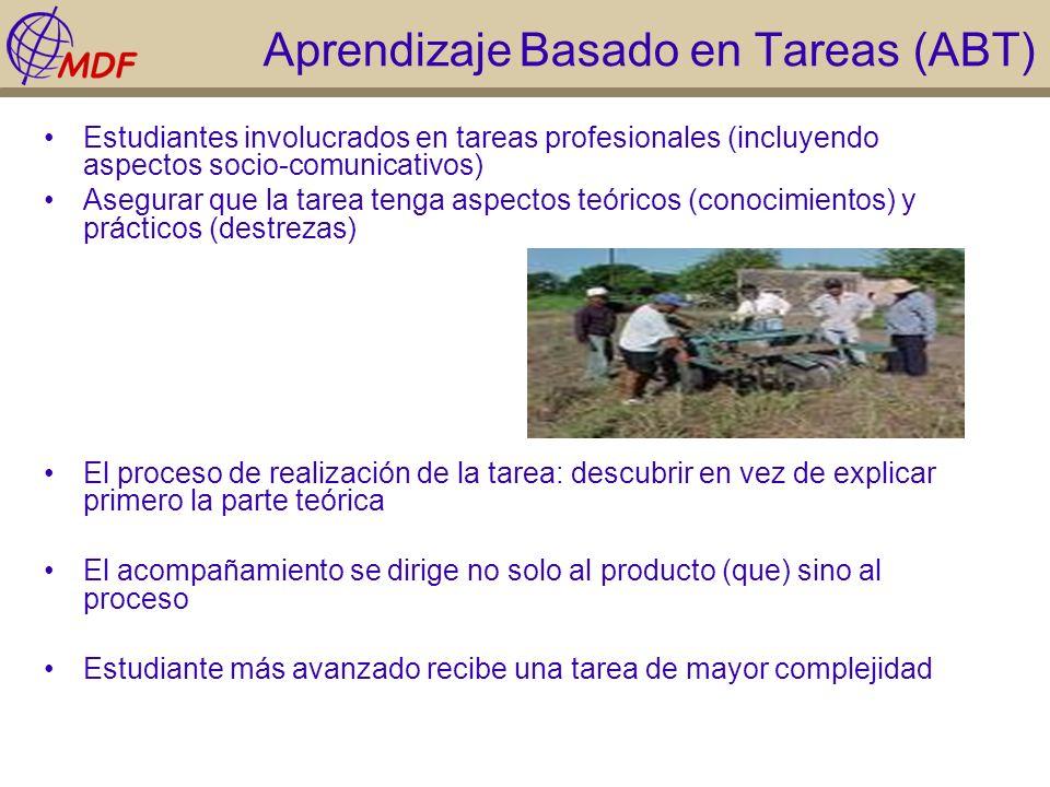 Aprendizaje Basado en Tareas (ABT) Estudiantes involucrados en tareas profesionales (incluyendo aspectos socio-comunicativos) Asegurar que la tarea te
