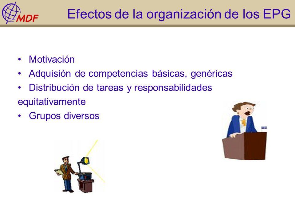 Efectos de la organización de los EPG Motivación Adquisión de competencias básicas, genéricas Distribución de tareas y responsabilidades equitativamen