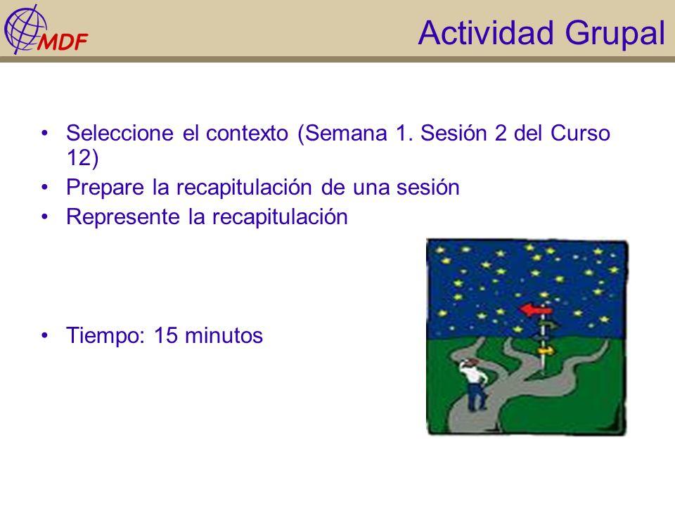 Actividad Grupal Seleccione el contexto (Semana 1. Sesión 2 del Curso 12) Prepare la recapitulación de una sesión Represente la recapitulación Tiempo: