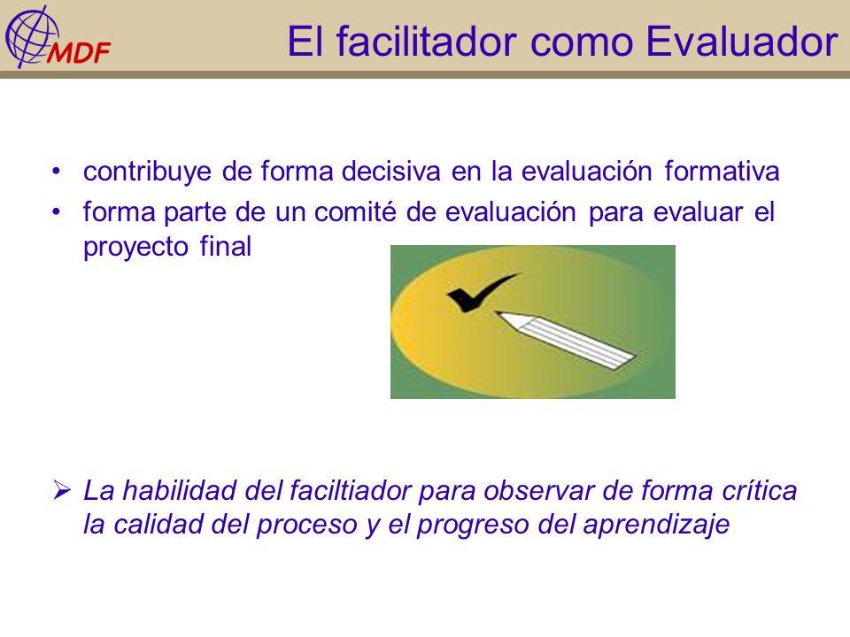 El facilitador como Evaluador contribuye de forma decisiva en la evaluación formativa forma parte de un comité de evaluación para evaluar el proyecto