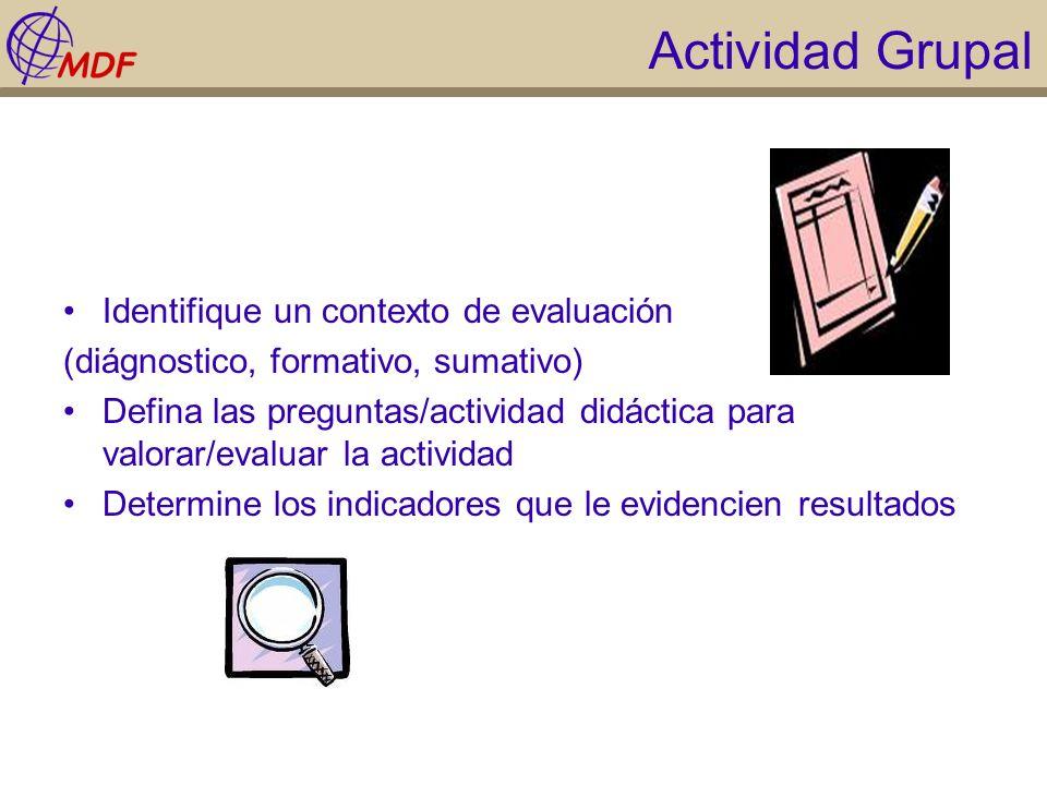 Actividad Grupal Identifique un contexto de evaluación (diágnostico, formativo, sumativo) Defina las preguntas/actividad didáctica para valorar/evalua