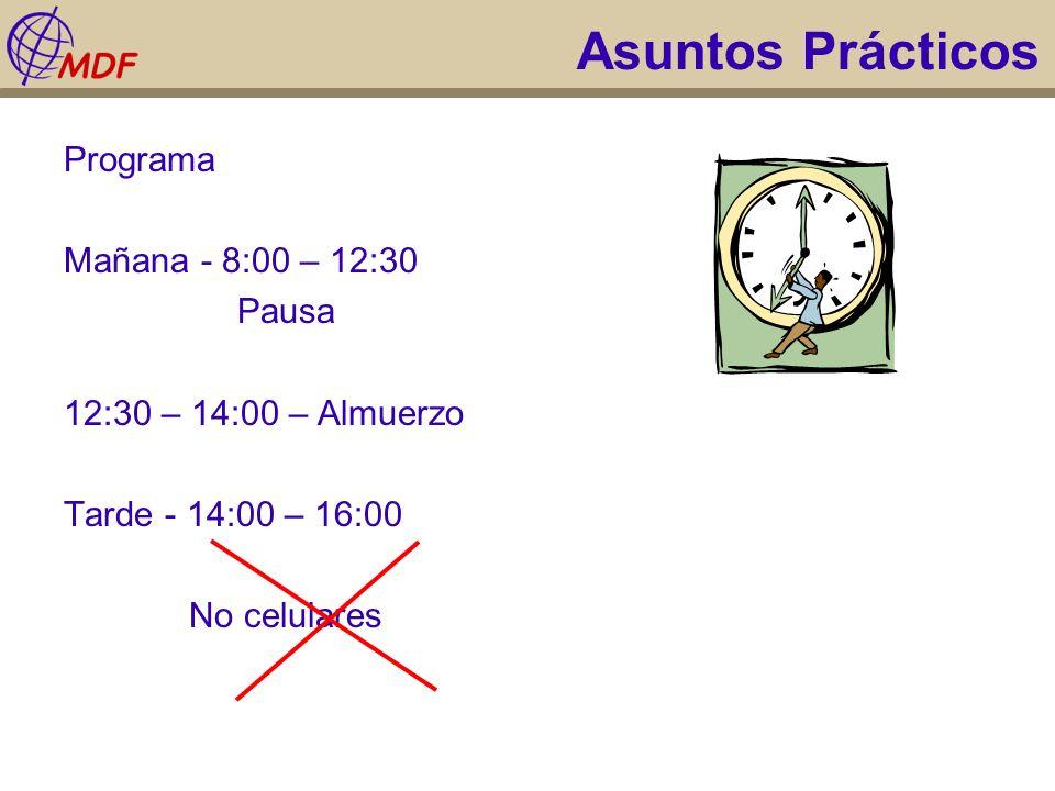 Asuntos Prácticos Programa Mañana - 8:00 – 12:30 Pausa 12:30 – 14:00 – Almuerzo Tarde - 14:00 – 16:00 No celulares