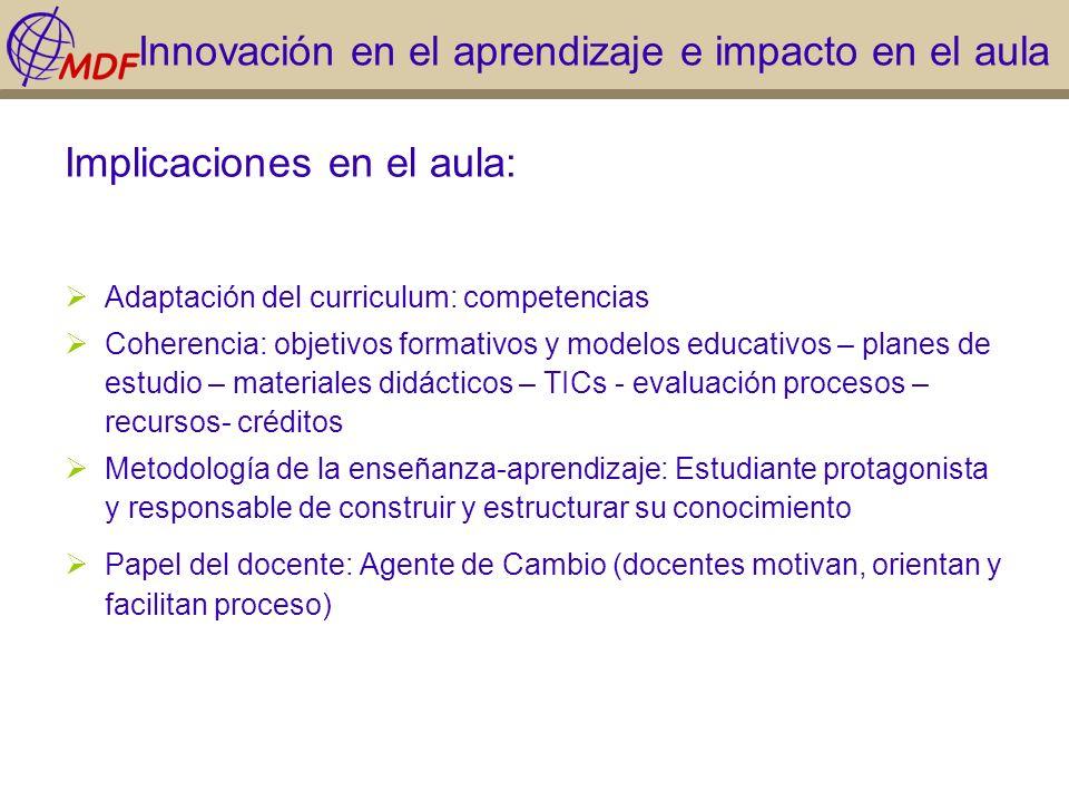 Innovación en el aprendizaje e impacto en el aula Implicaciones en el aula: Adaptación del curriculum: competencias Coherencia: objetivos formativos y
