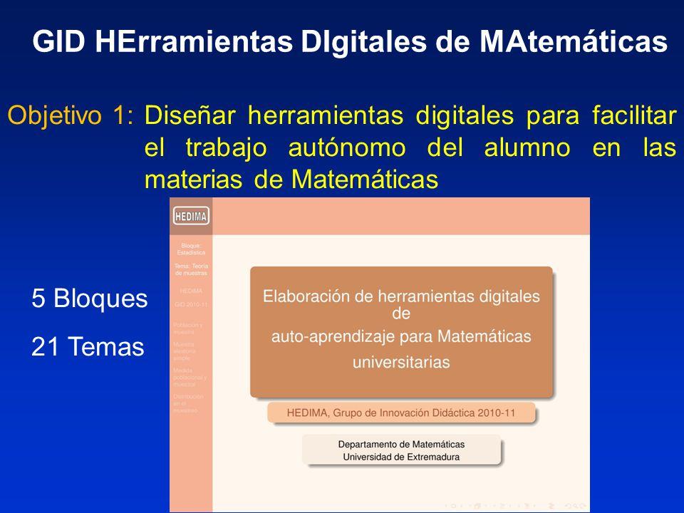 Diseñar una estructura básica para un curso de Matemáticas fundamentales en el campus virtual de la UEx Objetivo 2: GID HErramientas DIgitales de MAtemáticas
