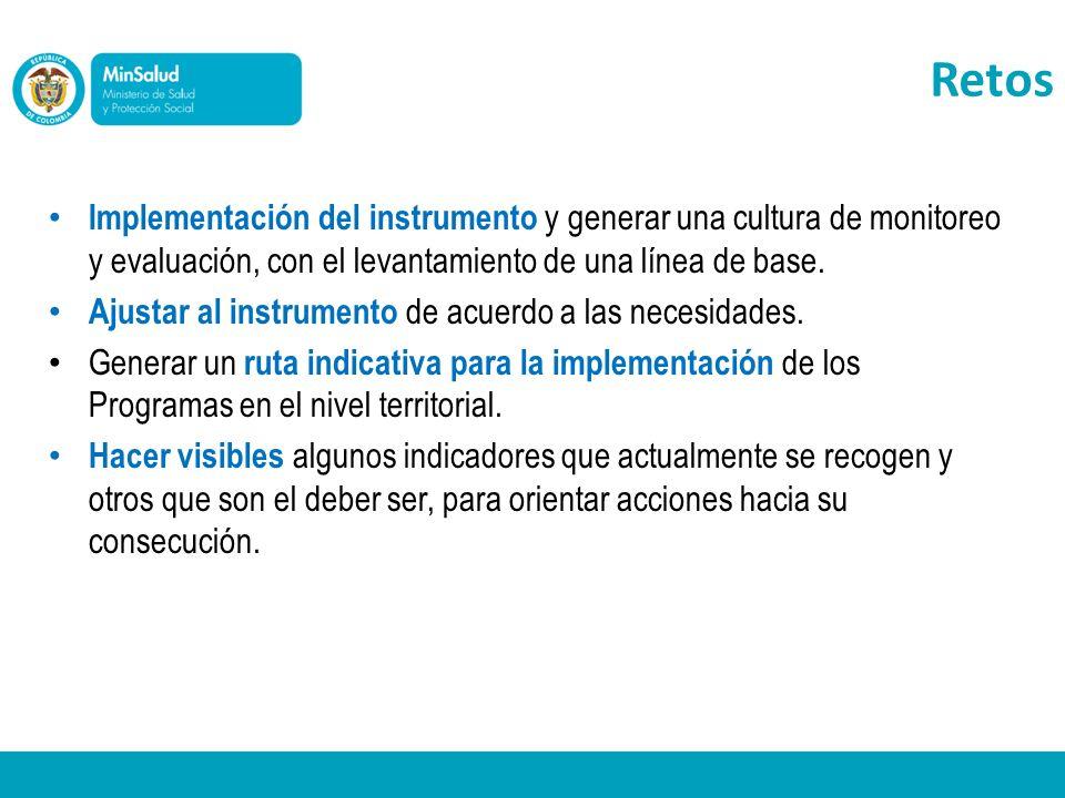 Implementación del instrumento y generar una cultura de monitoreo y evaluación, con el levantamiento de una línea de base. Ajustar al instrumento de a