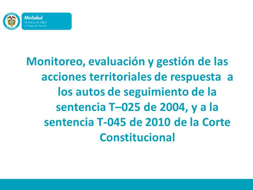Monitoreo, evaluación y gestión de las acciones territoriales de respuesta a los autos de seguimiento de la sentencia T–025 de 2004, y a la sentencia