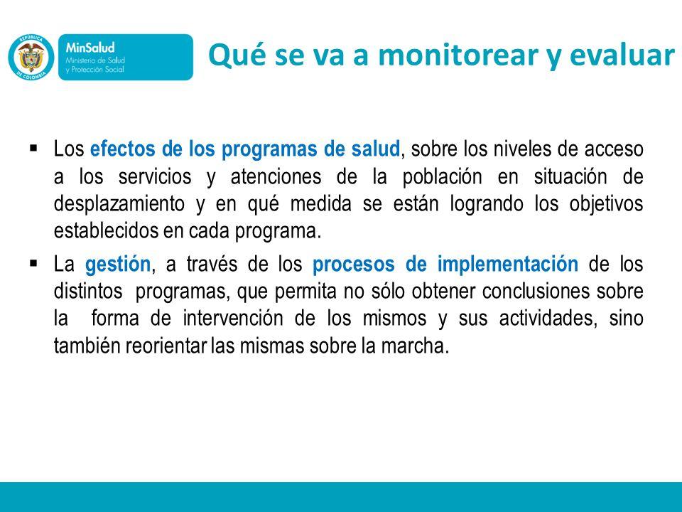 Los efectos de los programas de salud, sobre los niveles de acceso a los servicios y atenciones de la población en situación de desplazamiento y en qu