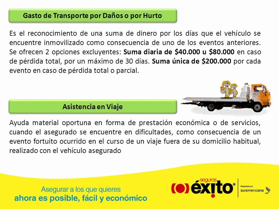 Gasto de Transporte por Daños o por Hurto Es el reconocimiento de una suma de dinero por los días que el vehículo se encuentre inmovilizado como conse