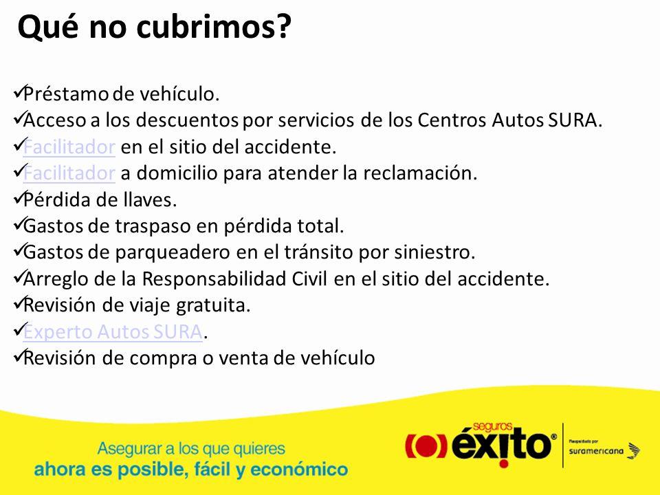 Qué no cubrimos? Préstamo de vehículo. Acceso a los descuentos por servicios de los Centros Autos SURA. Facilitador en el sitio del accidente. Facilit
