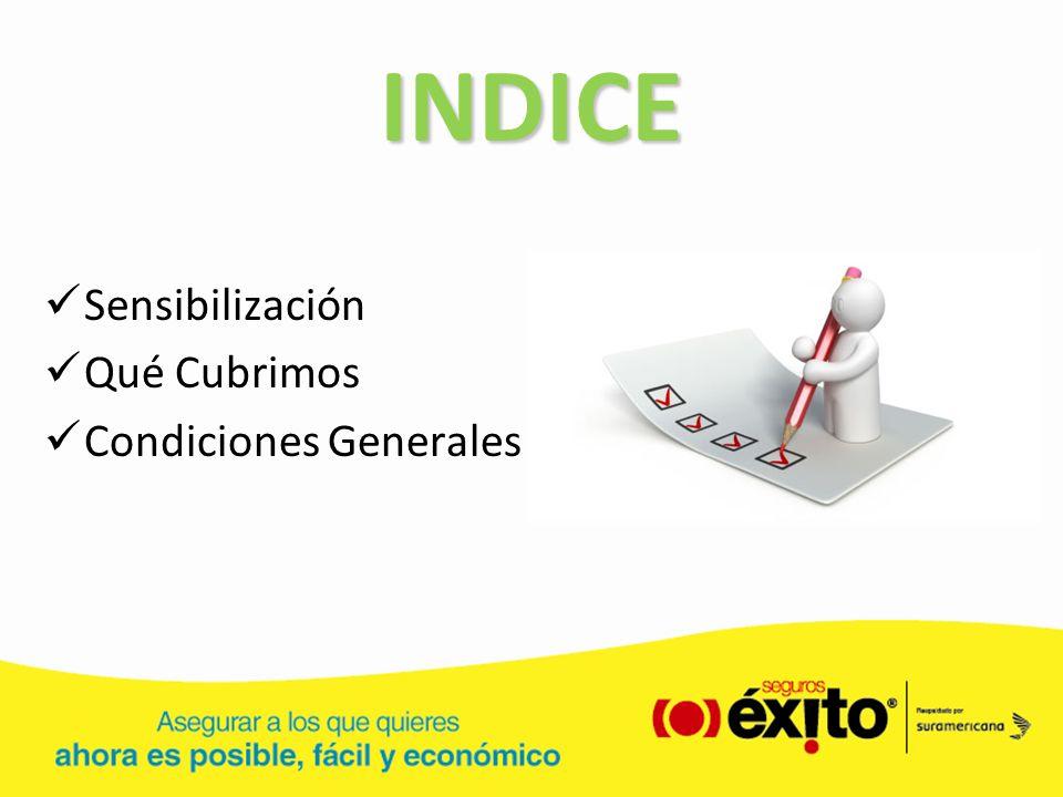 INDICE Sensibilización Qué Cubrimos Condiciones Generales