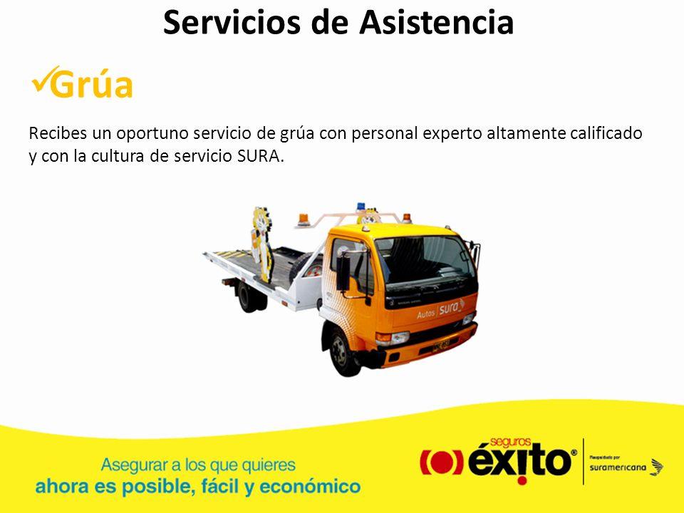 Servicios de Asistencia Grúa Recibes un oportuno servicio de grúa con personal experto altamente calificado y con la cultura de servicio SURA.