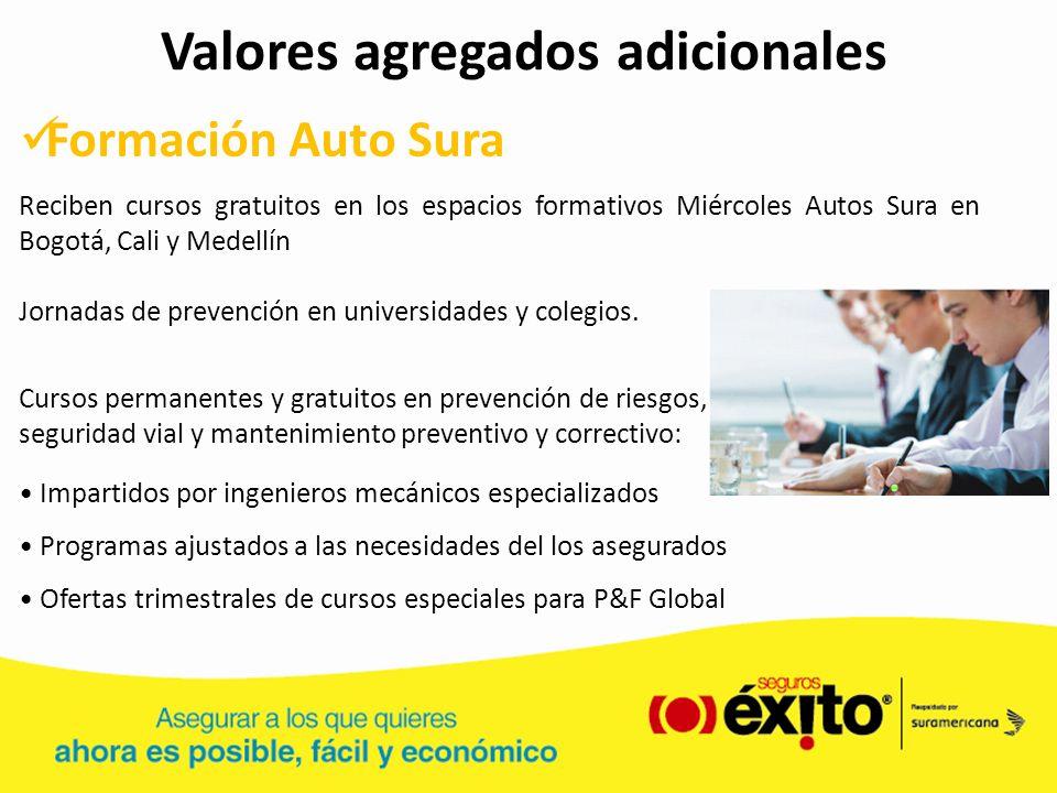 Valores agregados adicionales Formación Auto Sura Reciben cursos gratuitos en los espacios formativos Miércoles Autos Sura en Bogotá, Cali y Medellín