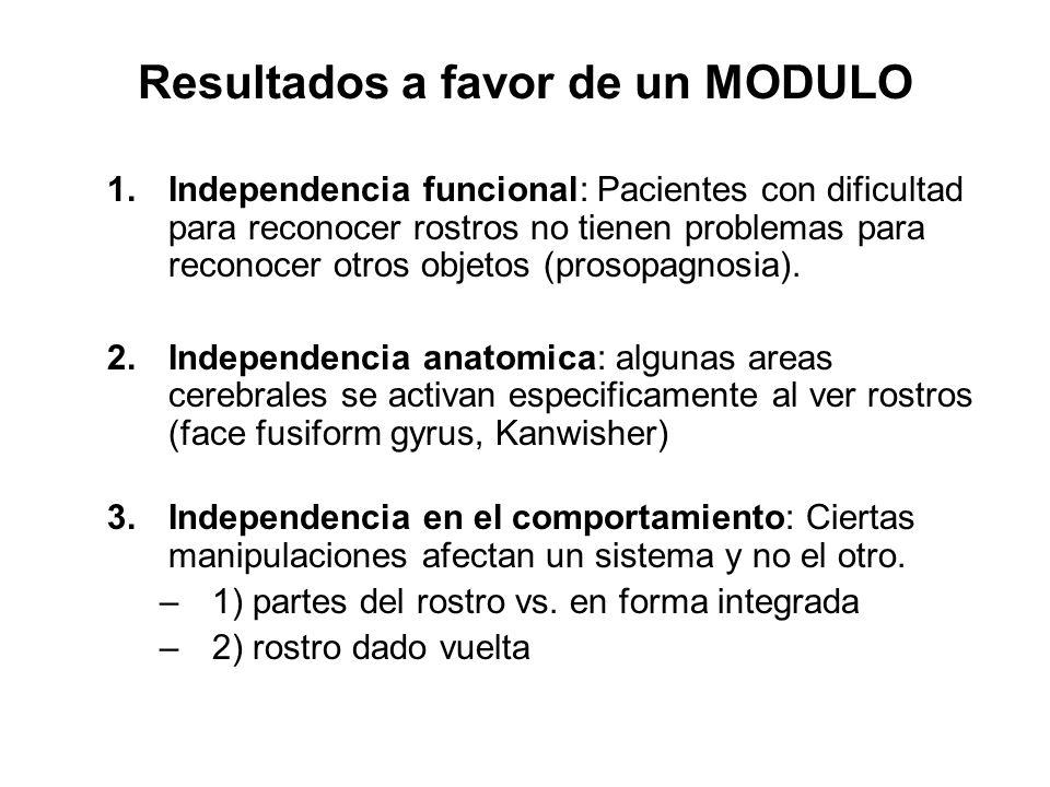 Resultados a favor de un MODULO 1.Independencia funcional: Pacientes con dificultad para reconocer rostros no tienen problemas para reconocer otros ob