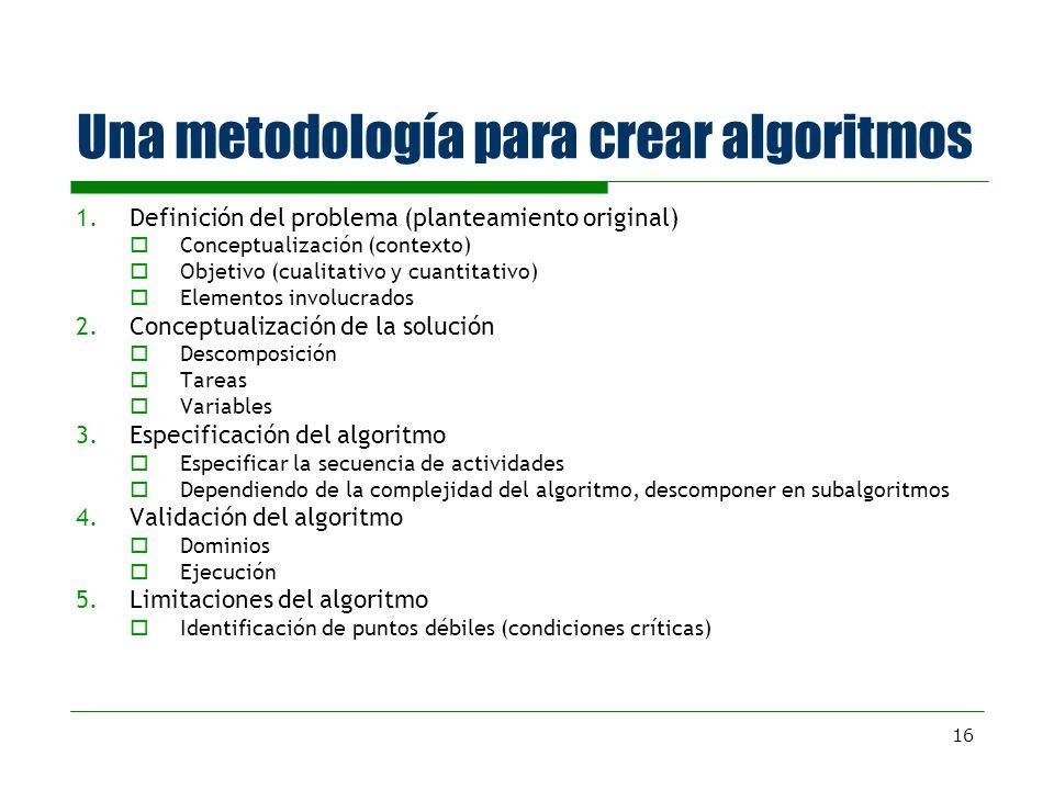 16 Una metodología para crear algoritmos 1.Definición del problema (planteamiento original) Conceptualización (contexto) Objetivo (cualitativo y cuant