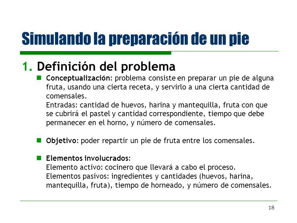 18 Simulando la preparación de un pie 1. Definición del problema Conceptualización: problema consiste en preparar un pie de alguna fruta, usando una c