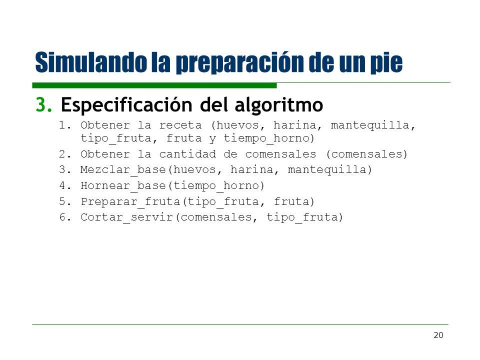 20 Simulando la preparación de un pie 3.Especificación del algoritmo 1.Obtener la receta (huevos, harina, mantequilla, tipo_fruta, fruta y tiempo_horn