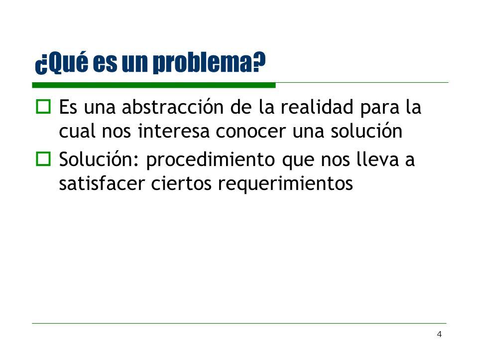 4 ¿Qué es un problema? Es una abstracción de la realidad para la cual nos interesa conocer una solución Solución: procedimiento que nos lleva a satisf