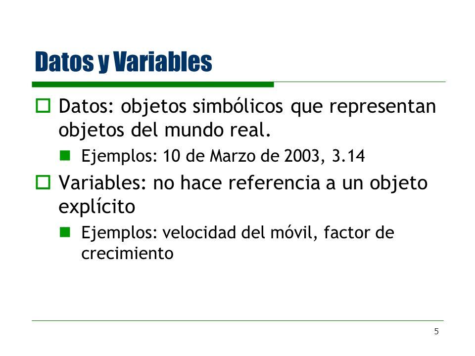 5 Datos y Variables Datos: objetos simbólicos que representan objetos del mundo real. Ejemplos: 10 de Marzo de 2003, 3.14 Variables: no hace referenci